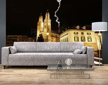 Фотообои Кафедральный собор Цюриха (Гроссмюнстер) ночью