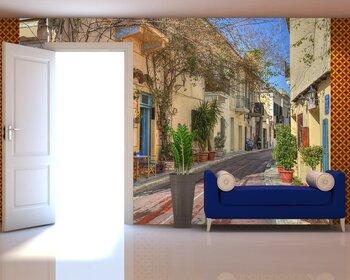 Фотообои на стену Обычная улочка в Греции.