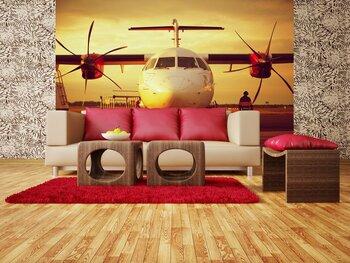 Фотообои Закат в аэропорту - Самолет на стоянке в аэропорту
