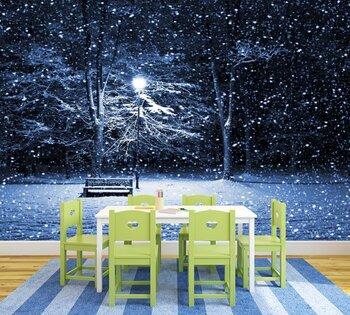 Фотообои на стену освещенный лес зимой