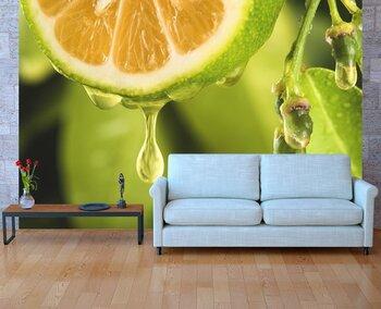 Фотообои на стену Зеленые яблоки с цветами на столе