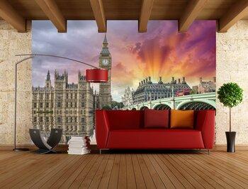 Фотообои на стену Лондонское колесо обозрения на закате