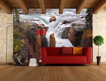 Фотообои на стену Панорама. Падающий водопад со скал