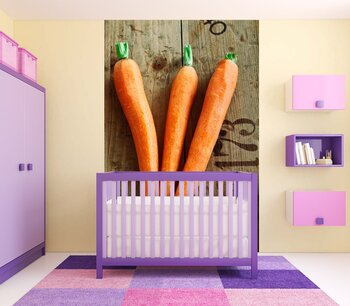Фотообои Морковь на деревянном фоне