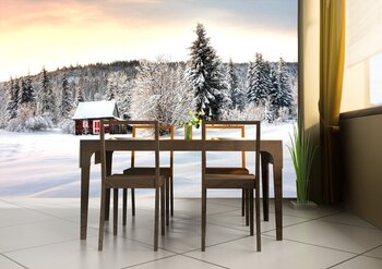 Фотообои Деревянный домик зимой