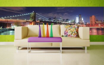 Фотообои на стену Нью-Йорк Бруклинский мост панорама на закате
