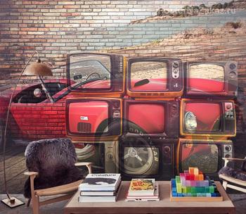 Фотообои Машина в телевизорах