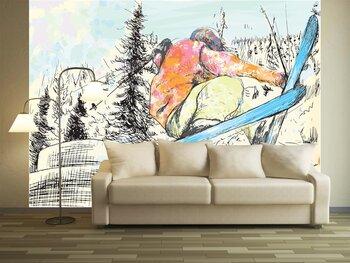 Фотообои на стену skiers - hand drawing