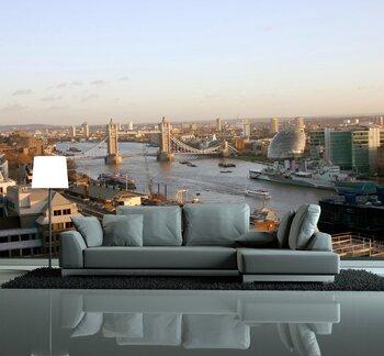 Фотообои на стену Река Темза.  Причалы  города Лондона