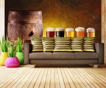 Фотообои Пиво в стаканах и в деревянной бочке.