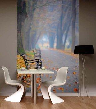Фотообои на стену Осень - старый мост в туманном  осеннем  парке