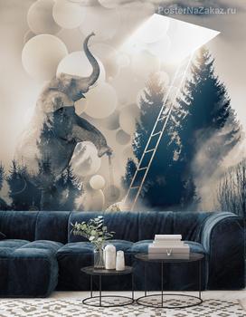 Фотообои Слон на самокате