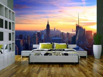 Фотообои Панорама горизонта Нью-Йорка на закате