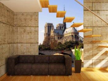 Фотообои на стену Вид от реки Сена на Парижскую башню