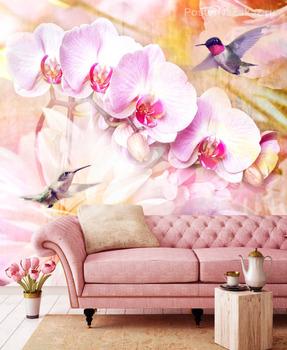 Фотообои Цветы и колибри