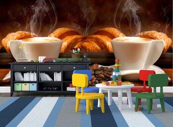 Фотообои  Завтрак с круассанами и кофе