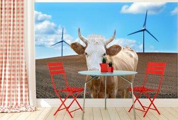 Фотообои Корова среди ветряков