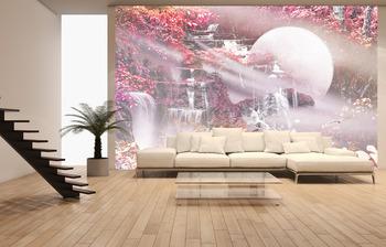 Фотообои на стену  лесной водопад