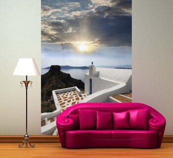 Фотообои Санторини с церквями и видом на море в Греции