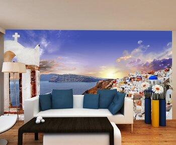 Фотообои Закат на Санторини