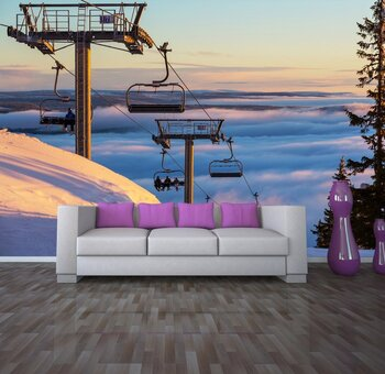Фотообои на стену Лыжница , кабель-железная дорога в горах