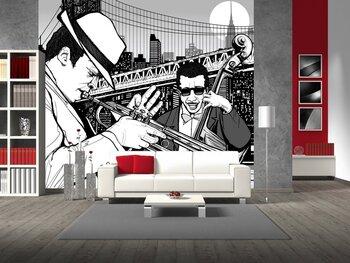 Фотообои на стену саксофонист играет на саксофоне на улице