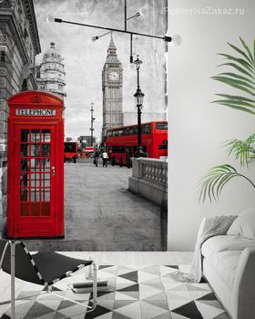 Фотообои Красная телефонная будка