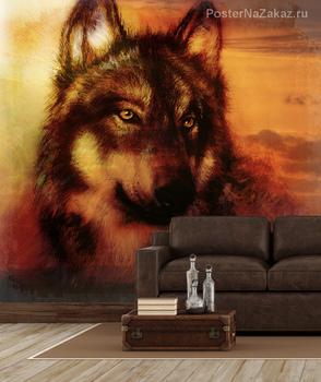 Волк на фоне заката
