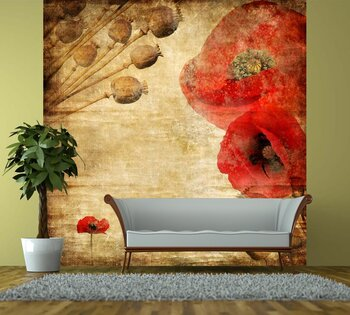 Фотообои на стену Красные цветы на абстрактном фоне