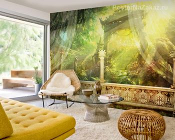 Фотообои на стену Лиса на фоне леса