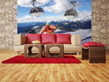 Фотообои на стену Катание на лыжах, зимние забавы