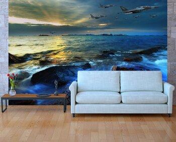 Фотообои Реактивный самолет, летевший над морем