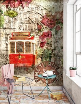 Фотообои ретро трамвай и цветы
