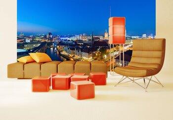 Фотообои на стену Река Шпрее и ТВ башня на заднем плане. Берлин.