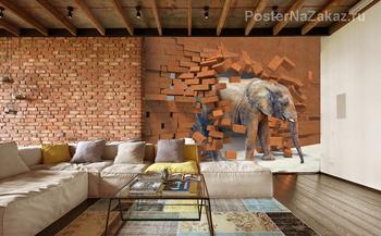 Фотообои 3D Слон из каменной стены