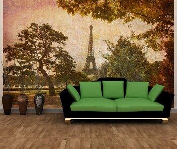 Фотообои на стену Краствые цвета Эйфелевой башни и небо Парижа