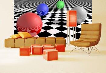 Фотообои Шарики, шахматы, пол