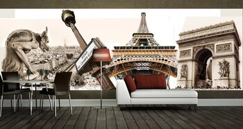 Фотообои Great Parisian landmarks - touristic collage