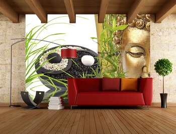 Фотообои на стену Традиционный фонтан из бомбука
