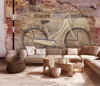 Фотообои Велосипед гранж