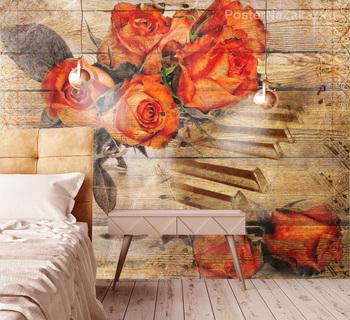 Фотообои Красные розы и рояль