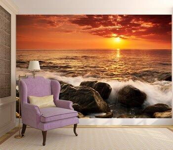 Фотообои на стену Счастливая семья на закате