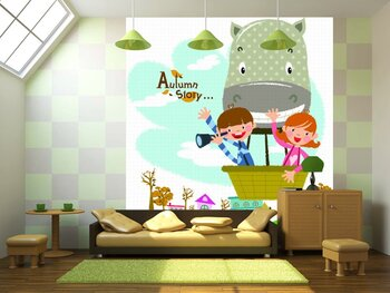 Фотообои на стену Винтажные игрушки и маленький ребенок