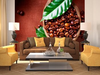 Фотообои на стену              Кофе  эспрессо с красной розой