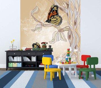 Фотообои на стену Иллюстрация весенний сад