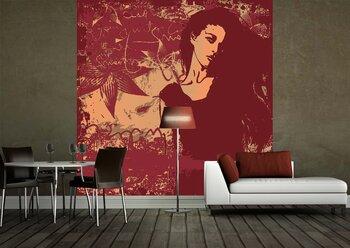 Фотообои на стену Абстракция в темнокрасных тонах