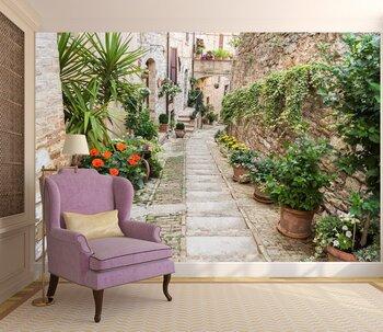 Фотообои Древняя алея с цветами