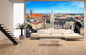 Фотообои The aerial view of Munich city center from the tower of the Pete