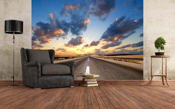 Фотообои Дорога в пустыне под  облачным небом