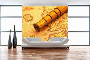 Фотообои Подзорная труба на карте мира
